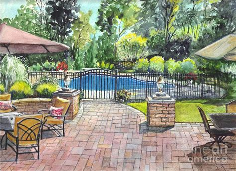 backyard vacations my backyard vacation painting by carol wisniewski