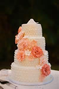 Autumn Barn Wedding Peach Wedding Cake With Flowers
