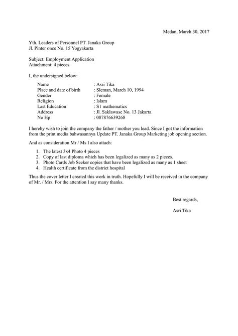 contoh application letter dalam bahasa cover letter tips