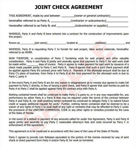 Joint Agreement Letter cheque templates free word psd pdf format