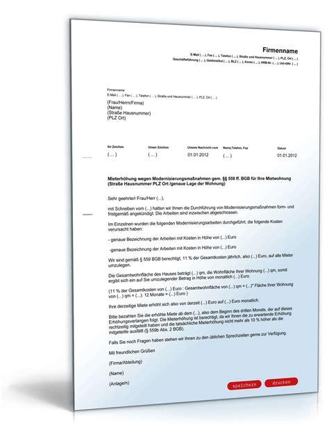 Moderne Geschäftsbriefe Vorlagen Mieterh 246 Hung Modernisierungsma 223 Nahmen Vorlage Zum