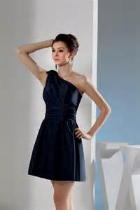 one shoulder short navy blue bridesmaid dresses naf dresses