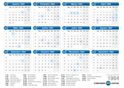 Calendario De 1984 Calend 225 1984