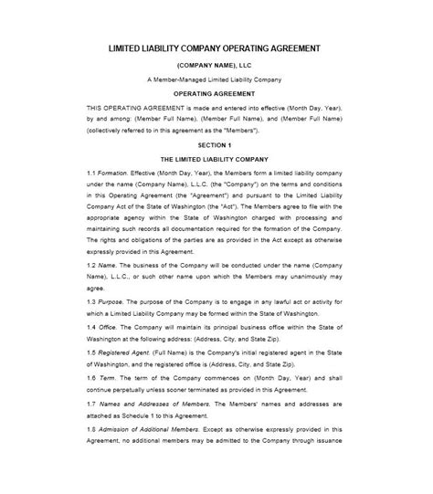 sle llc operating agreement template operation agreement llc template 28 images free single