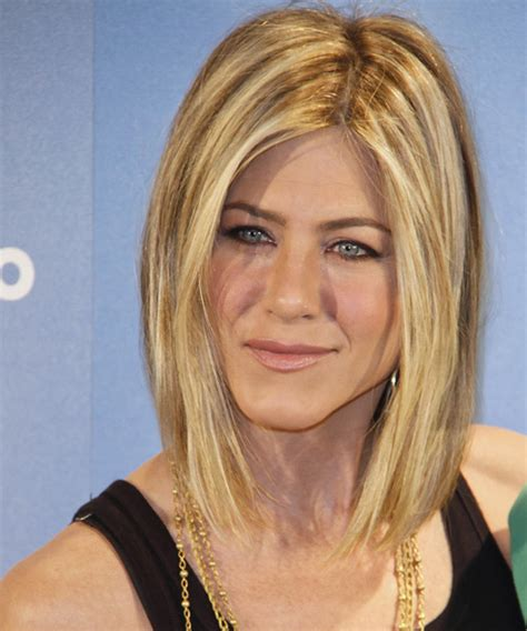medium haircuts aniston aniston medium casual hairstyle golden hair color with light
