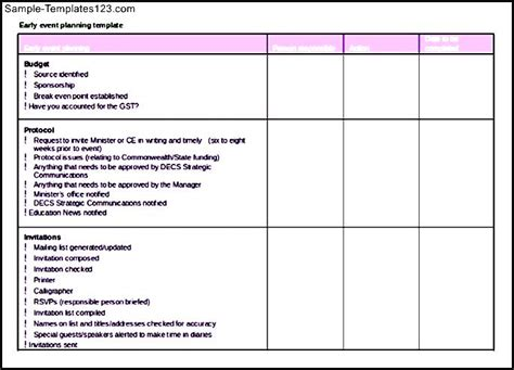 event planning exle itinerary template sle templates