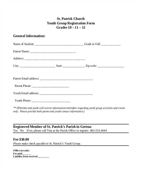 church registration form template youth church registration form template pictures to pin on