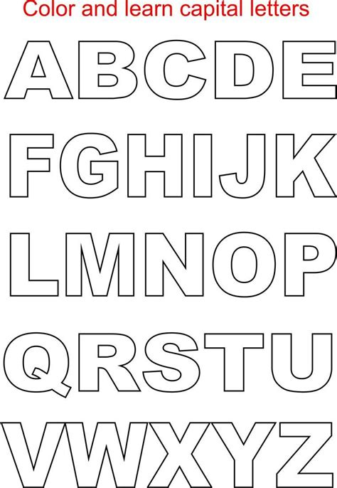 free printable large alphabet letters with pictures capital letters coloring printable page for kids