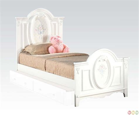 twin bedroom furniture sets sophie girls white traditional twin bedroom set w floral panel bed free shipping