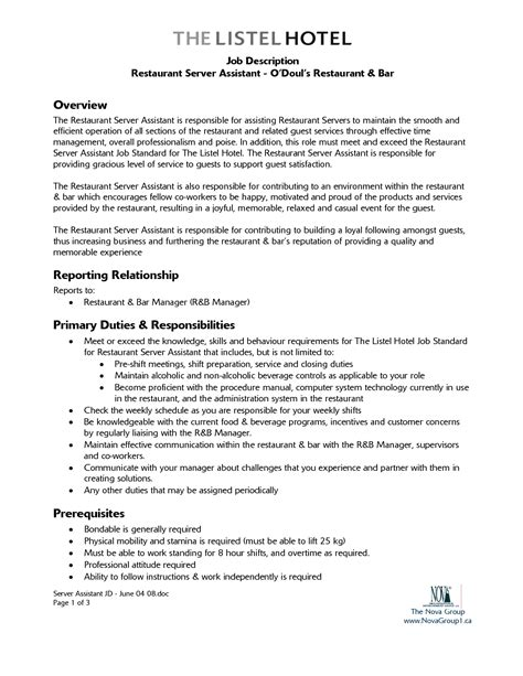 bar manager description sle free resume templates