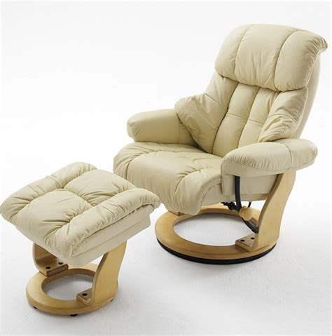 Red Fabric Recliner Chair Calgary Swivel Relaxer Chair Leather With Foot Stool In Brow