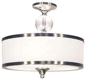 semi flush ceiling light drum shade three light brushed nickel white glass drum shade semi