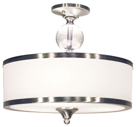 Contemporary Semi Flush Mount Ceiling Light Three Light Brushed Nickel White Glass Drum Shade Semi