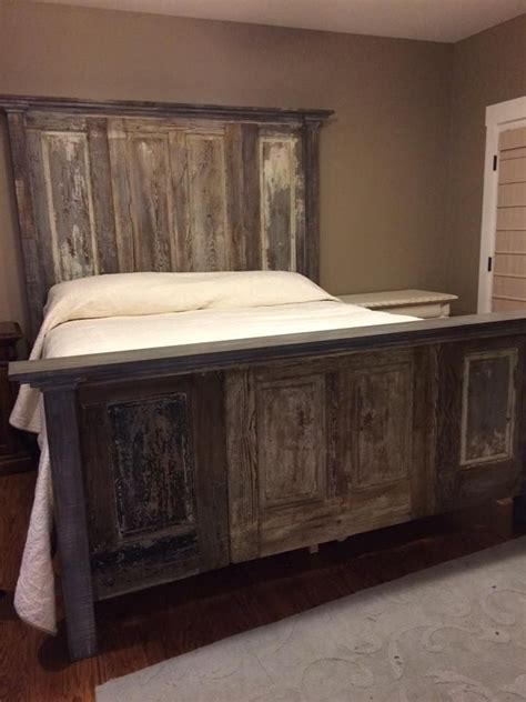 door headboard for king size bed custom built king bed made from old doors from a local