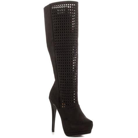 black hollow out womens boots uk plus size 12 cheap