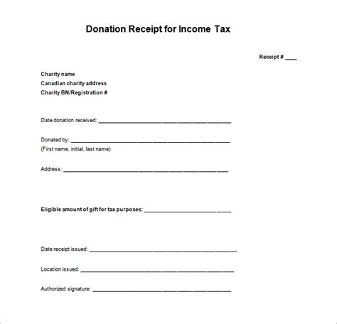 Child Fitness Tax Credit Receipt Template by Tax Receipt Template 14 Free Word Excel Pdf Format