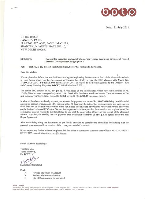 Demand Letter Generally Demand Letter Received From Bptp For Increased Edc Charges For Project Park Granduera Bptp