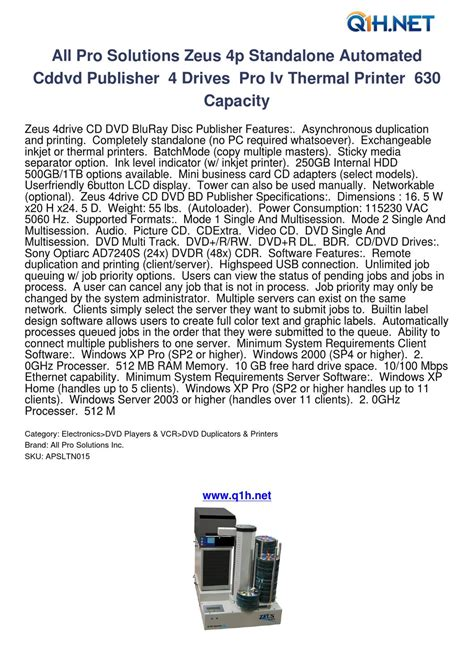 Duplicator Pro Business 119 Unlimited all pro solutions zeus 4p standalone automated cddvd publisher 4 drives pro iv thermal printer