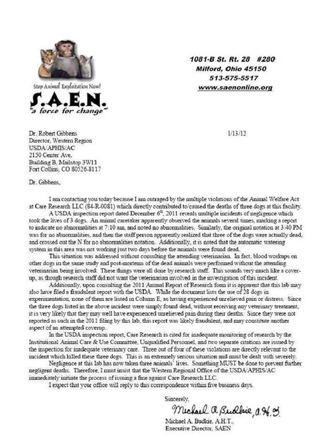 Complaint Letter For Piggery Care Research Wellington Co Letter Of Complaint To Usda About Care Research 13 Jan 2012