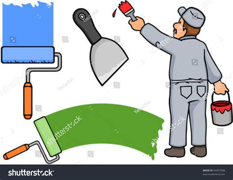 how to become a professional house painter house painter several tool graphics stock vector 64457698 shutterstock