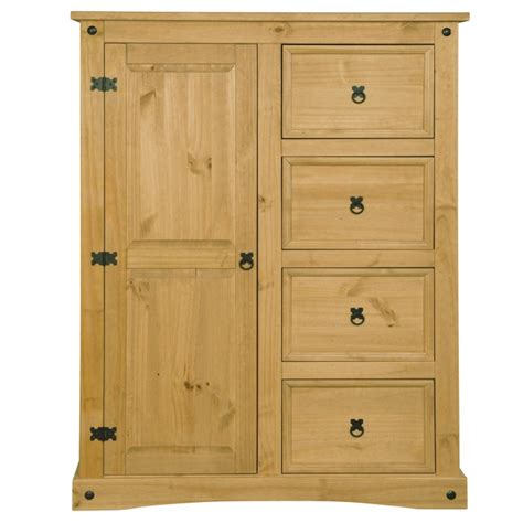 Corona Mexican Pine 4 Door Wardrobe by Corona Mexican 1 Door 4 Drawer Wardrobe In Solid