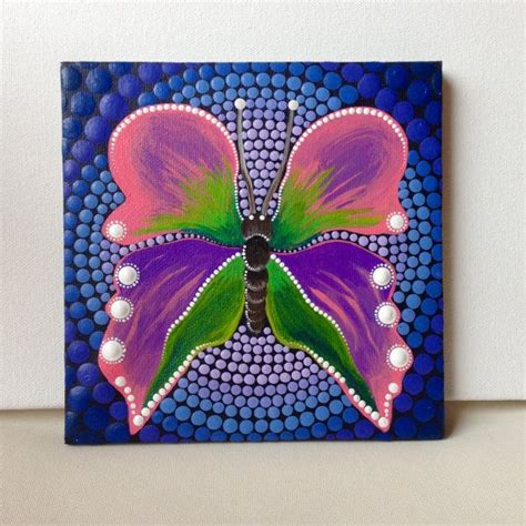 Painting 15x15cm Owl original butterfly mandala painting by createandcherish painting on canvas 15x15cm painting
