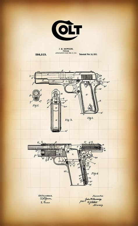Browning Home Decor by Browning Colt 45 Model 1911 Patent Digital Art By Daniel