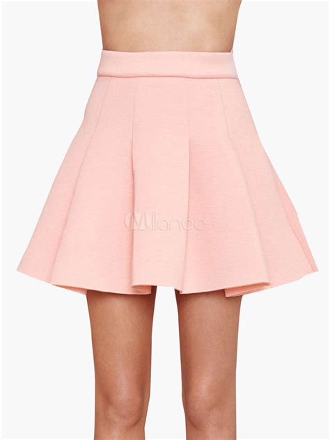 light pink pleated skirt light pink pleated cotton high waist skirt milanoo com