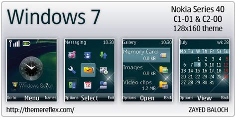 themes clock c1 windows 7 theme for nokia c1 01 c2 00 themereflex