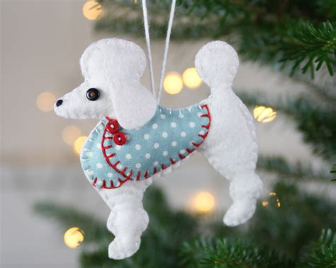 dog christmas ornament felt poodle ornament bonbon