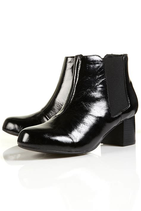 ama patent heeled chelsea boots by topshop brands