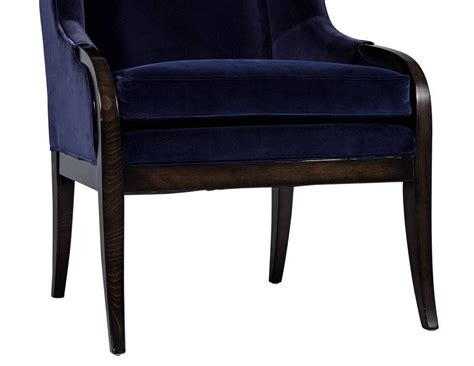 blue velvet wing chair pair of blue velvet wing chairs by carrocel for sale at