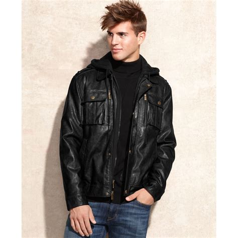 hooded leather jacket mens michael kors dallas removable hooded bib faux leather jacket in black for lyst