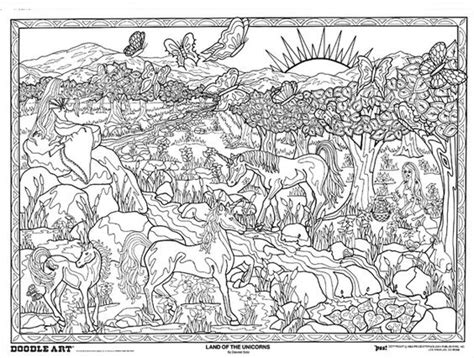 Land Of The Unicorns Doodle Art Colouring Poster This Coloring Posters
