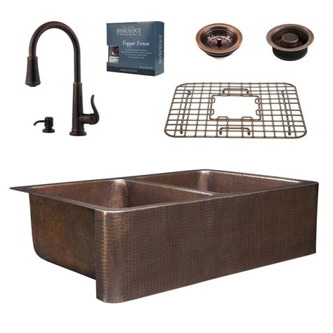 farmhouse sink with faucet holes sinkology pfister all in one 33 in rockwell copper