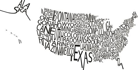typography map a typographic map of the us the sue
