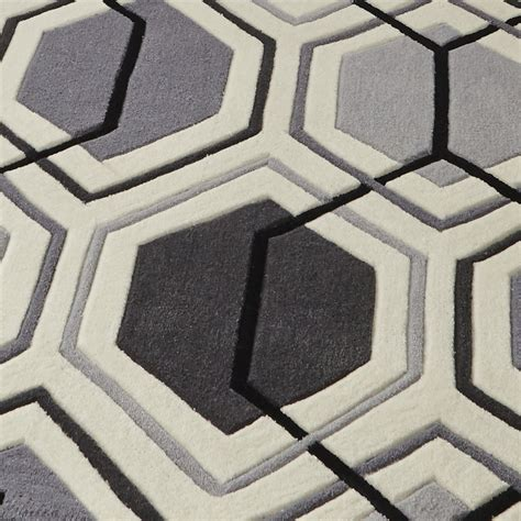 hexagon rugs hong kong hexagon design rug 100 tufted acrylic large geometric mat grey ebay
