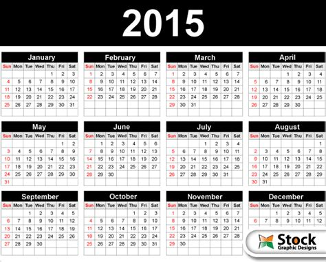 2015 calendar template vector free by stockgraphicdesigns