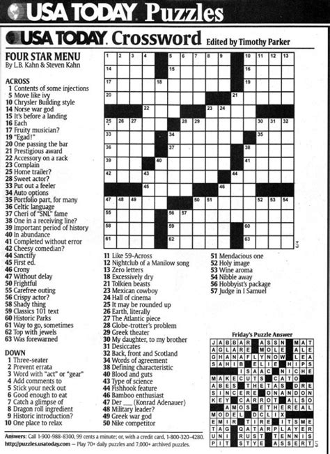 Usa Today Crossword Puzzle | usa today printable crossword freepsychiclovereadings com