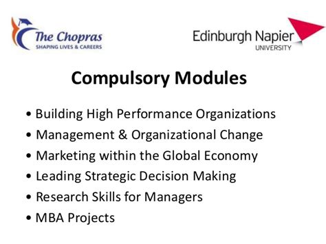 Mba Research Modules by Edinburgh Presentation For Applicant