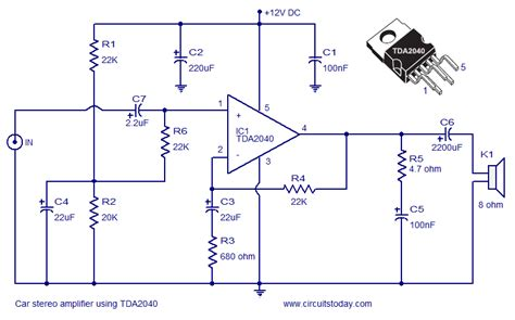 the integrated circuit explained circuits apmilifier tda2040 car stereo lifier circuit and explanation
