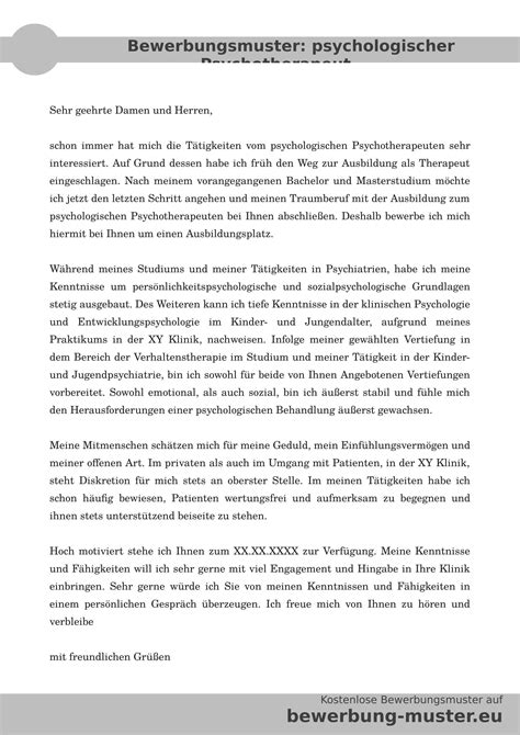 Bewerbungsschreiben Praktikum Bundestag Muster Bewerbung Hospitation Bewerbungsvorlage Psychologische R Psychotherapeut In