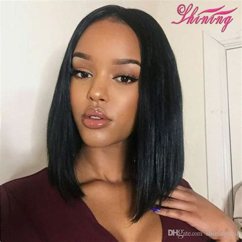 bob hairnstraight in the middle 9a human hair bob wigs for black women straight brazilian