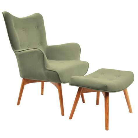 Nspire Rigi Accent Chair With Stool Olive Green Disc
