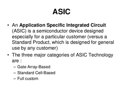 types of application specific integrated circuits vlsi design