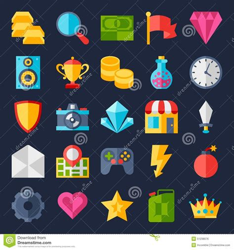 design icon game set of game icons in flat design style stock vector