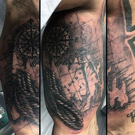 nautical map tattoo 100 nautical tattoos for slick seafaring design ideas