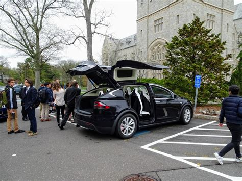 tesla outside image tesla electric cars on exhibit outside uconn