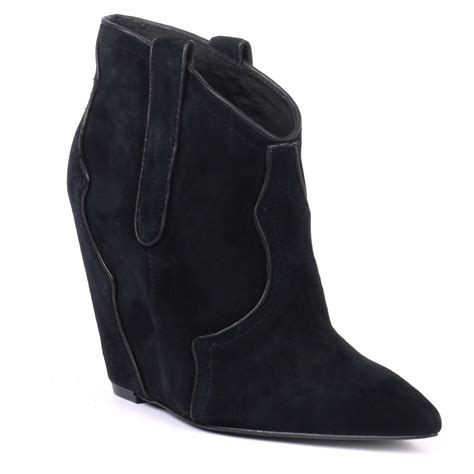 ash janet black wedge boots