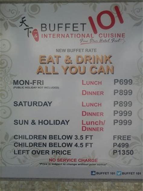 price list picture of buffet 101 pasay tripadvisor